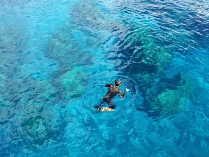푸른바다에서 스노클링 하는 남자